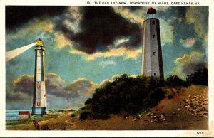 Virginia Cape Henry Old and New Lighthouse By Night Curteich