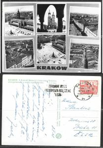 Poland, Krakow, mailed to Czechoslovakia in 1951