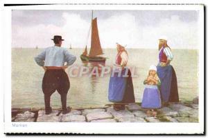 Postcard Old Women Marken Folklore