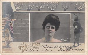 Miss Moryss Clark~Edwardian Actress~Gibson Girl~Christmas Snowballs~1905 RPPC