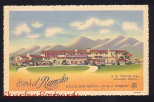 GALLUP NEW MEXICO ROUTE 66 HOTEL EL RANCHO EW TURNER LINEN ADVERTISING POSTCARD