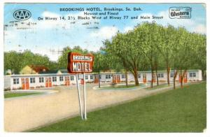Entrance and Sign for Brookings Motel, Brookings, South Dakota, PU-1955