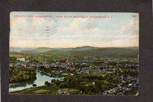 NY Bird's Eye view Binghamton New York Vintage Postcard Houses River