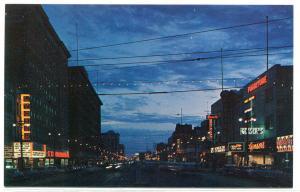 Portage Avenue Night Scene Winnipeg Manitoba Canada postcard