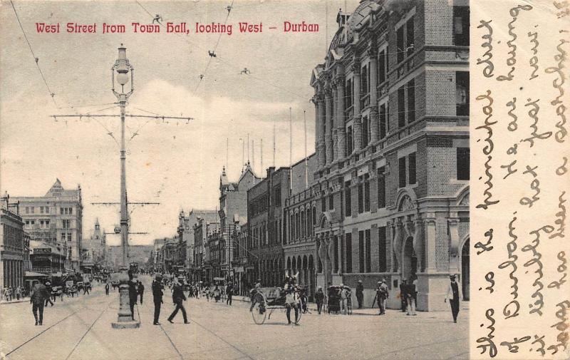 South Africa Durban west street light rickshaw postcard