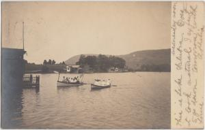 New York NY Real Photo RPPC Postcard 1906 BATH Lake Salubra Boats Cottages Peopl