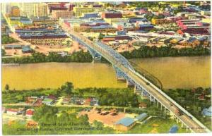 Air View of Long Allen Bridge, Shreveport, Louisiana, LA, Linen