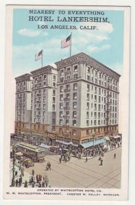 P1147 old postcard scene cars trollies etc hotel lankershim los angeles calif