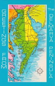 VIRGINIA, 40-60s; Map Greetings from the Del-Mar-Va Peninsula