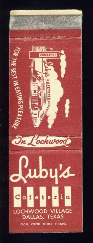 Dallas, Texas/TX Match Cover, Luby's Cafeteria, Luby's Lochwood