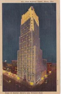 Ohio Akron First National Tower At Night Curteich