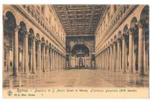 Italy Roma Basilica S Paolo Church Interior Postcard