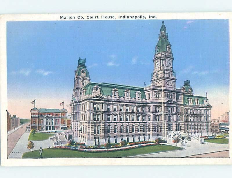 Unused Linen COURTHOUSE SCENE Indianapolis Indiana IN d2637