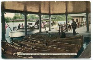 Motor Launch Boathouse Washington Park Chicago Illinois 1917 postcard