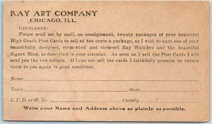 Chicago Advertising Postcard RAY ART COMPANY Comic Post Card Order Form c1920s