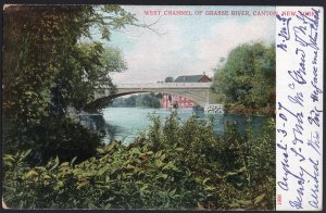 New York CANTON West Channel of Grasse River - Und/B - Vintage - 1907 in pen
