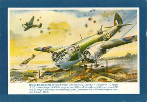 Art Postcard, WW2 Bristol Blenheim Mk IV Light Bomber with Specification AN6