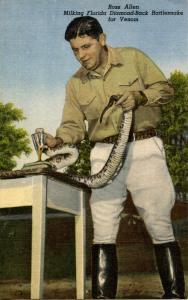 FL - Silver Springs, Reptile Institute. Ross Allen milks a Rattlesnake