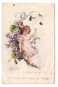 Tuck Birthday Series 105, Girl, Flowers, Butterfly, Lower Northfield Nova Sco...