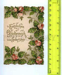 254155 GERMANY Birthdays flowers Vintage miniature embossed