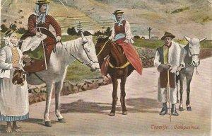 Tenerife, Spain. Peasants. Horses Old vintage spanish postcard