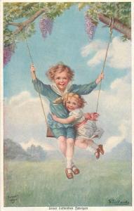 Primus AK W. Fialkowska - Unter dustenden Zweigen girls lilac tree swing fantasy