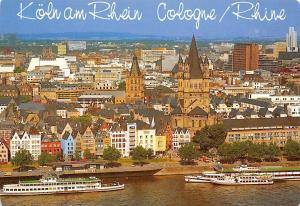 Koeln am Rhein Cologne Rhine Rathausturm und Gross St Martin Schiff