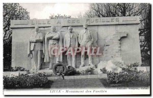 Postcard Old Lille Monument Fusilles Army