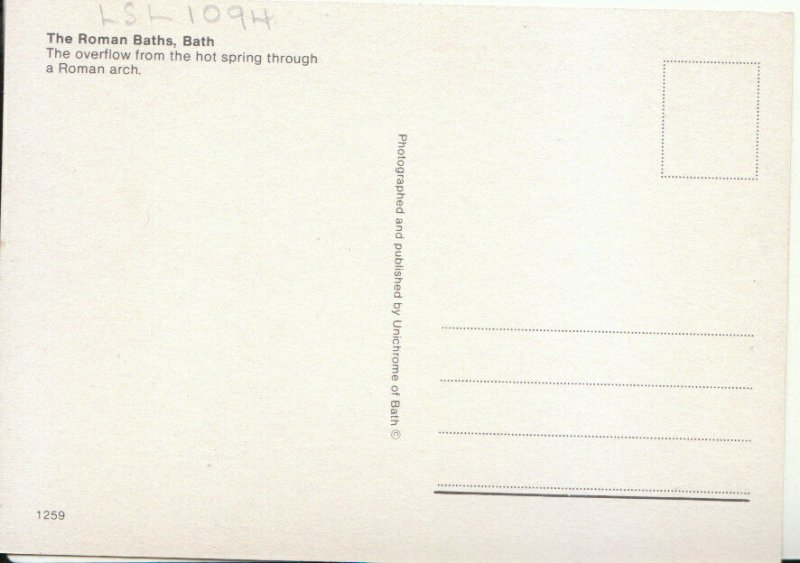 Somerset Postcard - Roman Baths, Bath - Overflow from The Hot Spring  Ref 18494A
