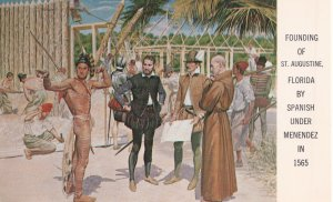 Founding of St Augustine By Spanish Mendez Florida Postcard
