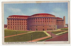 P726  Linen card (1930-1945) educatiional building capitol park harrisburg pa.