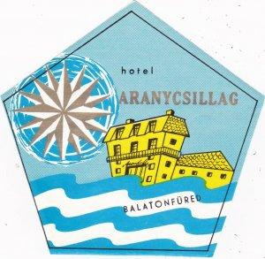 Hungary Balatonfured Hotel Aranycsillag Vintage Luggage Label lbl0101