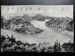 Old PC - Map Postcard, Vierwaldsttersee, Switzerland - showing mountain peaks