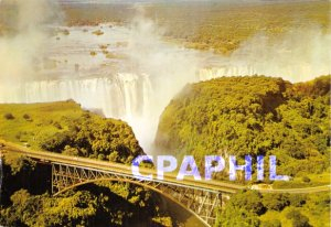 Postcard Close up of Modern Armchair Bridge and from the air, Victoria Falls,...