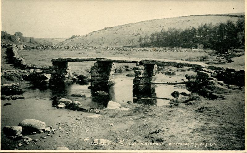 UK - England, Postbridge Dartmoor. Clapper Bridge