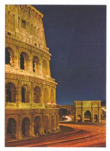 Italy Rome Colosseo Arch Constantine Night Postcard 4X6