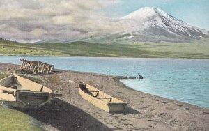 Deserted Rowing Fishing Boat at Lake Yamanaka Japanese Old Postcard