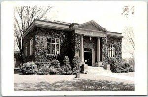 MEDINA, Ohio RPPC Real Photo Postcard Library Building View c1950s Unused