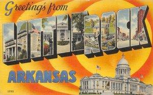 LITTLE ROCK, AR Large Letter Linen Greetings Capitol 1948 Vintage Postcard
