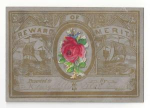 Antique Victorian Reward of Merit to Henry Sipple Diecut Rose add on 3.75 X 2.5