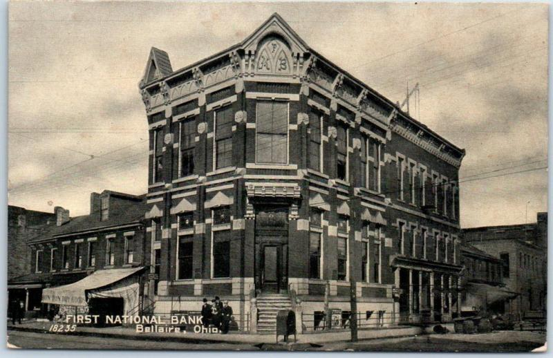 Bellaire Ohio Postcard First National Bank Building Street View C1910s Unused