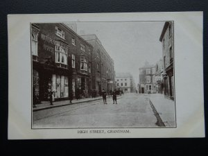 Lincolnshire GRANTHAM High Street shows WATERLOO HOUSE c1905 Postcard