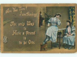 Pre-Linen WOMAN AND HER FRIEND USING ANTIQUE TELEPHONE k7685