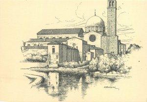 Art of Italy Postcard graphic etching Padova chiesa del Carmini
