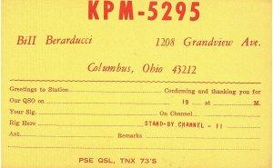 Vintage QSL Postcard  KPM 5295  Columbus, Ohio  Bill Berarducci  -T-