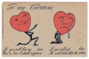 Fantasy Valentine Postcard Heart Faced Lover Vintage 1905