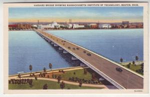 P132 JL 1930-45 linen postcard harvard bridge cars boston ma