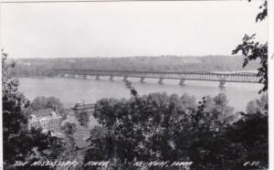 Iowa Keokuk Railroad Bridge Across Mississippi Real Photo