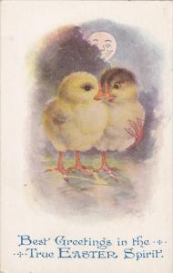 EASTER; Greetings in the True Spirit Chicks walking together at night, Smil...