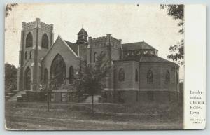 Rolfe Iowa~Presbyterian Church on Dirt Road~1908 B&W Postcard